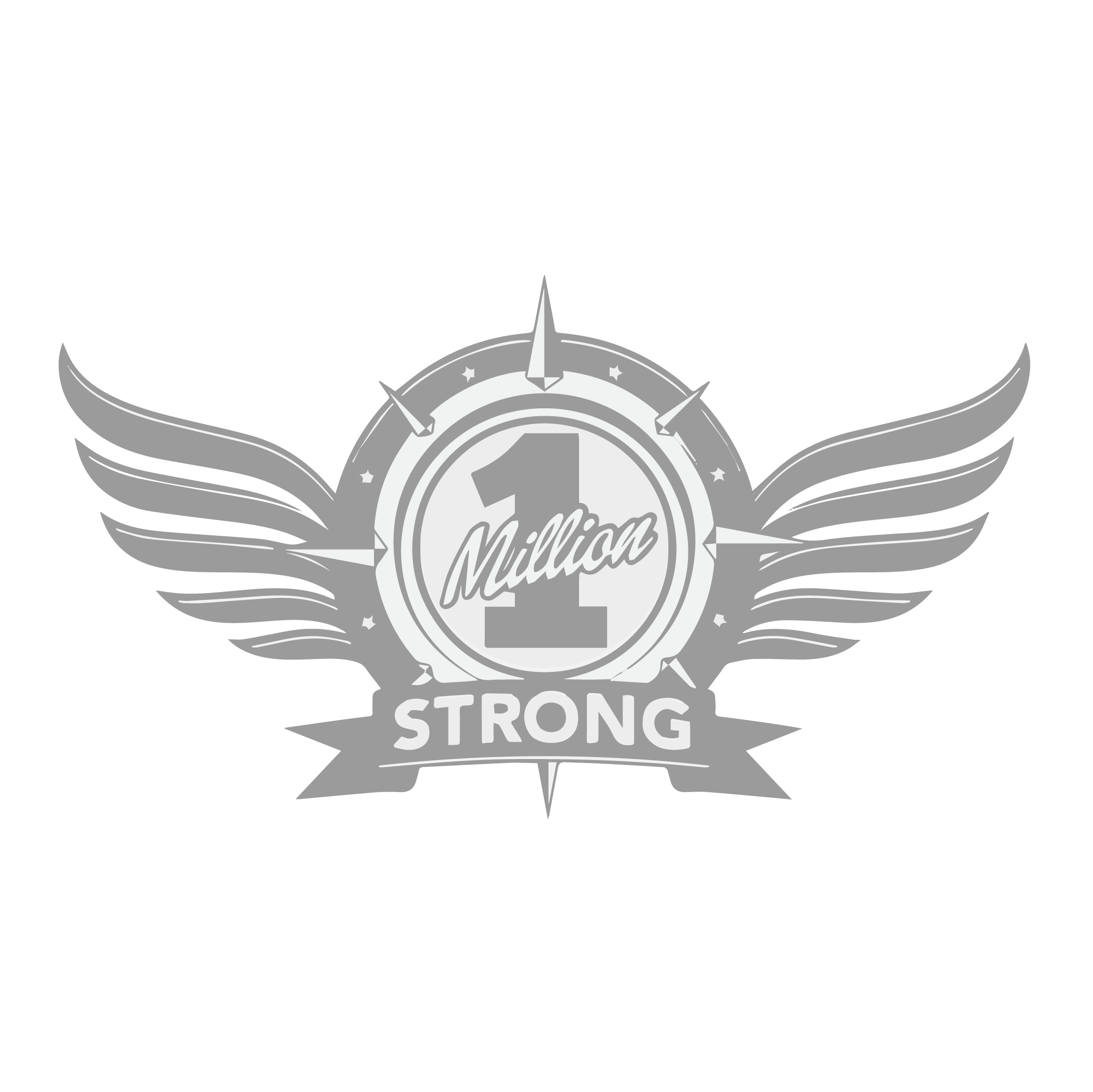 Logo of 1 million strong. Word 1 million strong located in a silver emblem, with the word strong located underneath it.