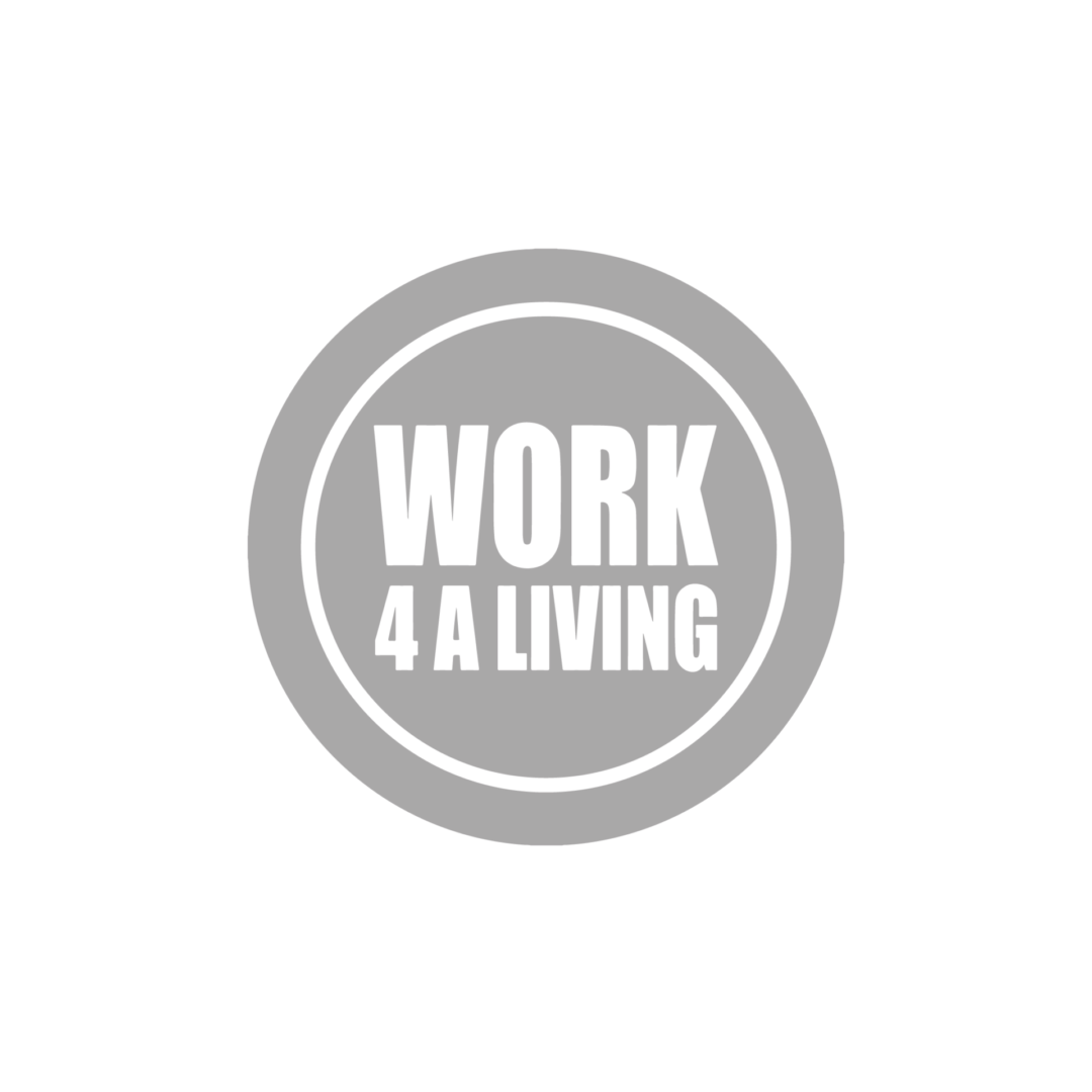 Logo for work 4 a living, name is located on a blue green circle. This circle is surrounded by a white line, which is inside a darker green circle